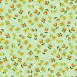 De vector groene kleurrijke hand getrokken tulpenbloemen herhalen patroon Geschikt voor giftomslag, textiel en behang stock illustratie