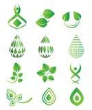 De vector groene symbolen van het logotypepictogram, blad, groene dalingen, milieu, natuurlijke, organische reeks Royalty-vrije Stock Foto's