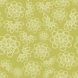 De vector groene zwart-wit achtergrond van het roomijs bloemen naadloze patroon royalty-vrije illustratie