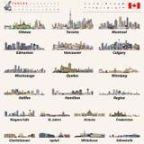 De vector grootste steden van Canada en alle de kapitalenhorizonnen van staten Royalty-vrije Stock Fotografie