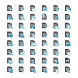 De vector grote vastgestelde blauwe en zwarte pictogrammen van het Documentdossier Stock Afbeelding