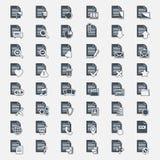 De vector grote vastgestelde pictogrammen van het Documentdossier Stock Foto's