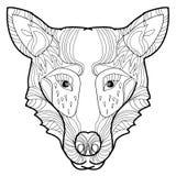 De vector hand-drawn wolf van de illustratiekrabbel Royalty-vrije Stock Foto