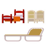 De vector het huisrust van het bedpictogram vastgestelde binnenlandse illustratie van de het meubilair comfortabele nacht van de  Royalty-vrije Stock Afbeeldingen