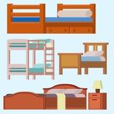 De vector het huisrust van het bedpictogram vastgestelde binnenlandse illustratie van de het meubilair comfortabele nacht van de  Royalty-vrije Stock Foto's