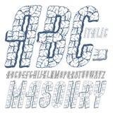 De vector hoofd moderne alfabetbrieven, abc plaatsen Gecondenseerde vette letters Royalty-vrije Stock Afbeelding