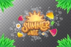 De vector horizontale banner van de sammerverkoop met tekst, de zomer groen gras, vliegende verse citroenen, bloemen en plak van  Stock Foto