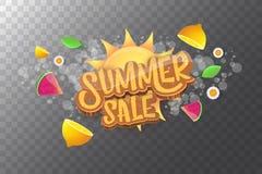 De vector horizontale banner van de sammerverkoop met tekst, de zomer groen gras, vliegende verse citroenen, bloemen en plak van  Royalty-vrije Stock Foto