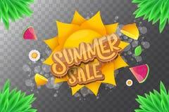 De vector horizontale banner van de sammerverkoop met tekst, de zomer groen gras, vliegende verse citroenen, bloemen en plak van  Royalty-vrije Stock Fotografie