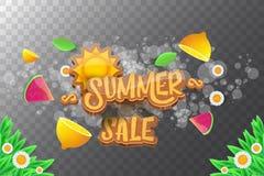 De vector horizontale banner van de sammerverkoop met tekst, de zomer groen gras, vliegende verse citroenen, bloemen en plak van  Stock Foto's