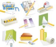 De vector huisvernieuwing en reeks van het herontwerppictogram Stock Foto's