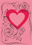 De vector, illustratie, achtergrond, nam, roze, hart, liefde, zwart silhouet, rood, bloemen toe vector illustratie