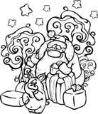 De vector, illustratie, Santa Claus, zwart-wit beeld, Nieuwjaar, geeft een varken vele giften, bos, de winter, sneeuw, vreugde, v royalty-vrije illustratie