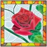 De vector illustratie van bloemrood nam toe. Stock Fotografie
