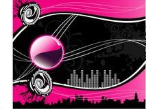 De vector illustratie van de muziekstad Stock Afbeeldingen