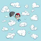 Leuke jongen die onder wolken vliegen royalty-vrije illustratie