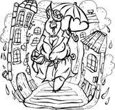 De vector, illustratie, zwart-wit, varken, regen, onder een paraplu, thuis, water daalt, al nat, weg royalty-vrije illustratie