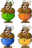 De vector illustraties van 4 Viking dragen Stock Afbeeldingen