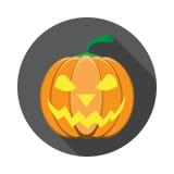 De vector isoleerde pictogram van gloeiende lantaarnhefboom met schaduw voor Halloween in vlakte vector illustratie