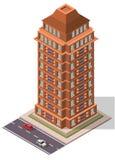 De vector Isometrische Bouw van de Bureauwerkplaats Stock Foto