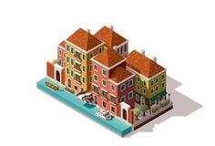 De vector isometrische straat van Venetië royalty-vrije illustratie
