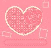 De vector kaart met hart, nam en drie portsta toe Stock Foto