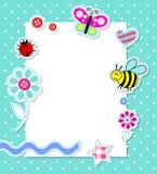 De vector kaart van de babyjongen met plakboekelementen