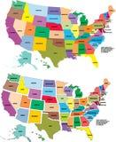 De vector kaart van de V.S. Stock Fotografie