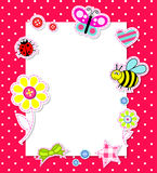 De vector kaart van het babymeisje met plakboekelementen Stock Afbeelding