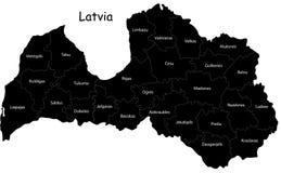 De vector kaart van Letland Stock Foto's