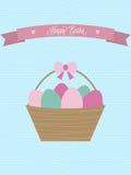 De vector kaart van Pasen De Mand van Pasen met Eieren Stock Foto's