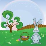 De vector kaart van Pasen met konijntje Stock Foto