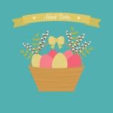 De vector kaart van Pasen Pasen-mand met eieren, wilg, groene takken Royalty-vrije Stock Foto's