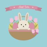 De vector kaart van Pasen Pasen-mand met konijn, eieren en tulpen Stock Afbeelding