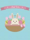 De vector kaart van Pasen Pasen-mand met konijn, eieren en tulpen Stock Afbeeldingen