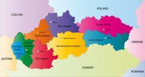 De vector kaart van Slowakije Stock Afbeelding