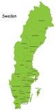 De vector kaart van Zweden Stock Afbeelding