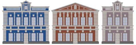 De vector klassieke Europese huizen van architectuurgebouwen De huizen van de architectuurgebouwen van Moskou De gebouwenhuizen M vector illustratie