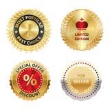 De vector kleurde Gouden Etiketten Royalty-vrije Stock Foto's