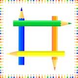 De vector kleurde naadloos patroon De rijen van gekleurde pointy potloden vormen een kader royalty-vrije stock fotografie