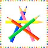 De vector kleurde naadloos patroon De rijen van gekleurde pointy potloden vormen een kader stock afbeelding