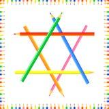 De vector kleurde naadloos patroon De rijen van gekleurde pointy potloden vormen een kader stock afbeeldingen