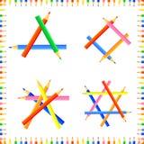 De vector kleurde naadloos patroon De rijen van gerichte potloden vormen een kader royalty-vrije stock afbeelding