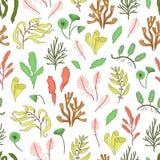 De vector kleurde naadloos patroon van zeewieren stock illustratie