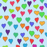 De vector kleurde valentijnskaart naadloos met krabbelharten - rood, sinaasappel, geel, groen, blauw, purper en violet Royalty-vrije Stock Foto's