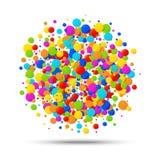 De vector kleurrijke heldere die regenboogkleuren omcirkelen confettienverjaardag om documenten op witte achtergrond wordt geïsol Royalty-vrije Stock Foto