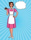 De vector kleurrijke illustratie van de pop-art grappige stijl van een mooie vrouw in schort met plaat van cake stock illustratie