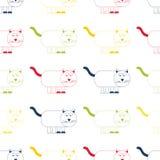 De vector kleurrijke leuke beeldverhaalkat herhaalt naadloos patroon Blauwe, roze, gele en groene kat op witte achtergrond vector illustratie