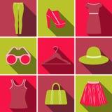 De vector kleurrijke reeks die van het manierpictogram uit negen pictogrammen bestaan Royalty-vrije Stock Foto's