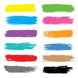 De vector Kleurrijke vectordiehand van de Borstelslag met inkt wordt getrokken Stock Foto